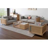 朗朝现代极简白蜡木家具:L2802#1+2+3沙发(原木色)、L281#长茶几
