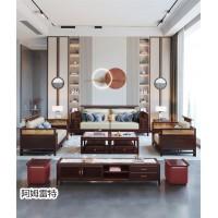 南康现代轻奢新中式套房家具,江西金丝檀木新中式家具生产厂家,阿姆雷特家具